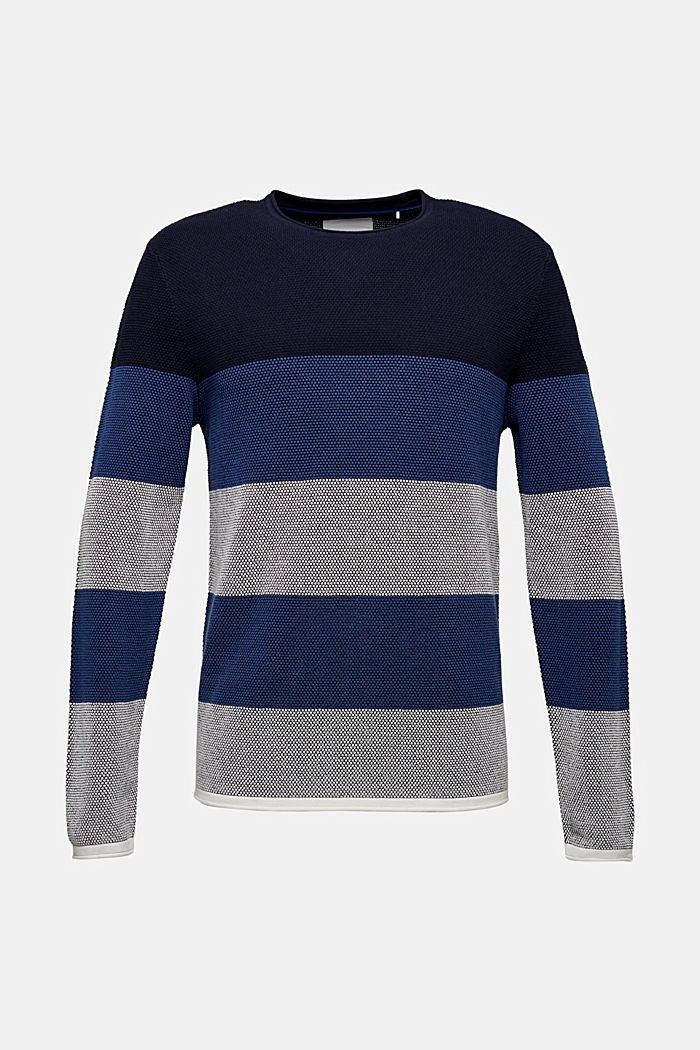 Struktur-Pullover aus 100% Baumwolle, BLUE 3, detail image number 0