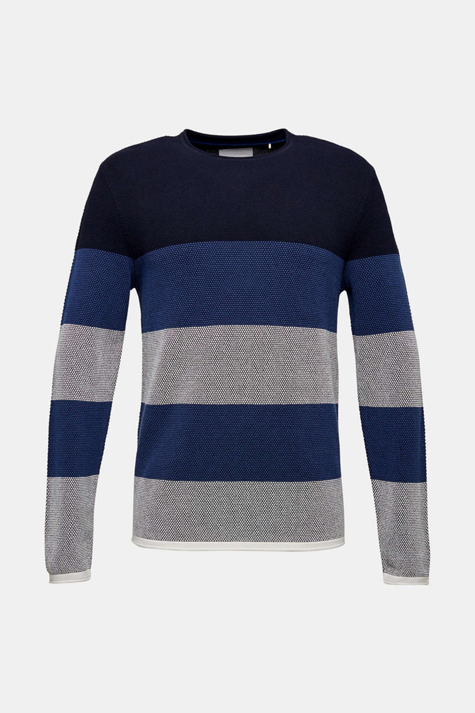 Textured jumper made of 100% cotton, BLUE 3, detail image number 5