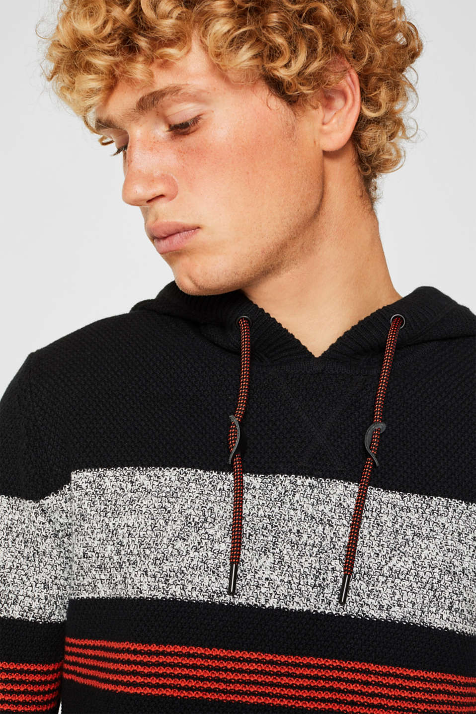 Knitted hoodie in 100% cotton, BLACK 3, detail image number 2