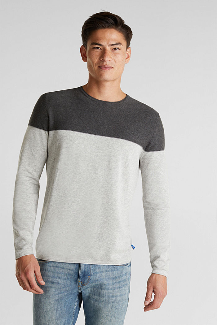 Color Block-Pullover, 100% Baumwolle, GREY, detail image number 0