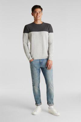 Colour block jumper, 100% cotton, ORANGE, detail