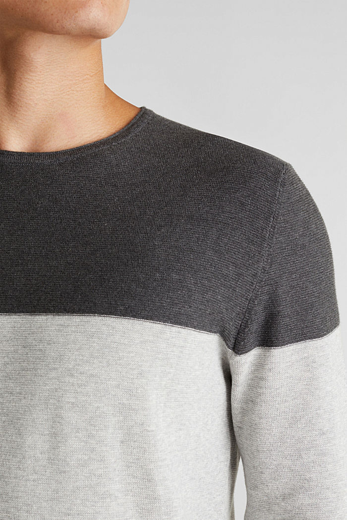 Color Block-Pullover, 100% Baumwolle, GREY, detail image number 2