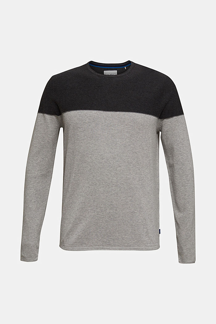 Color Block-Pullover, 100% Baumwolle, GREY, detail image number 7