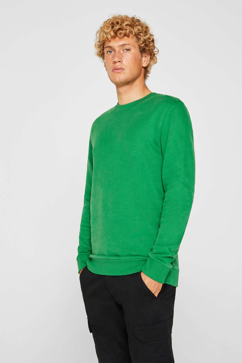 Sweatshirt in 100% cotton, GREEN, detail image number 0