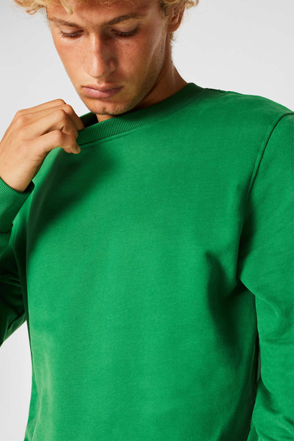 Sweatshirt in 100% cotton, GREEN, detail image number 2