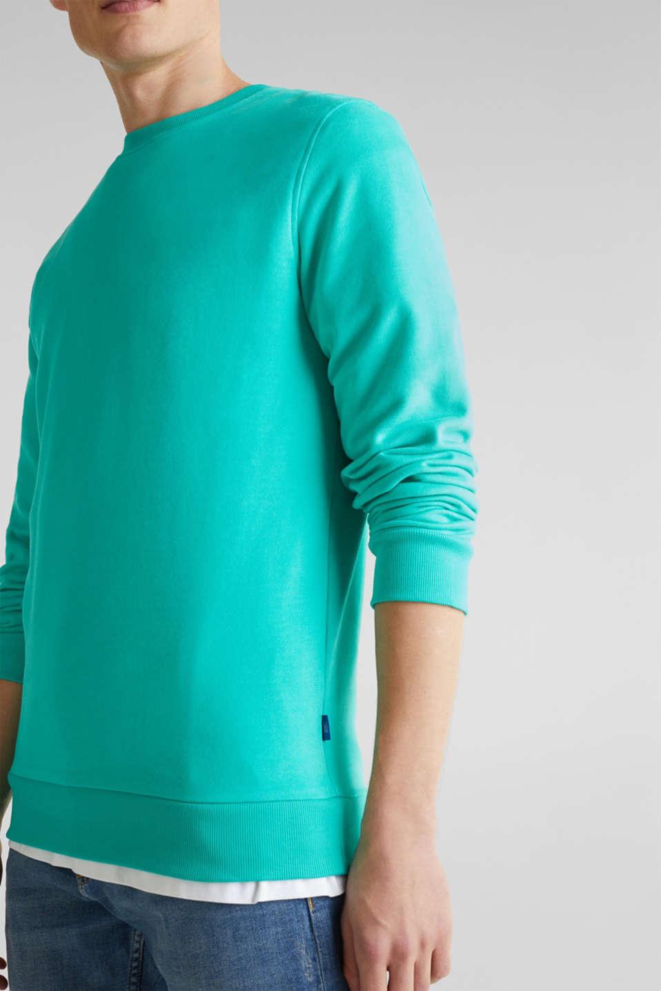 Sweatshirt in 100% cotton, AQUA GREEN 2, detail image number 2