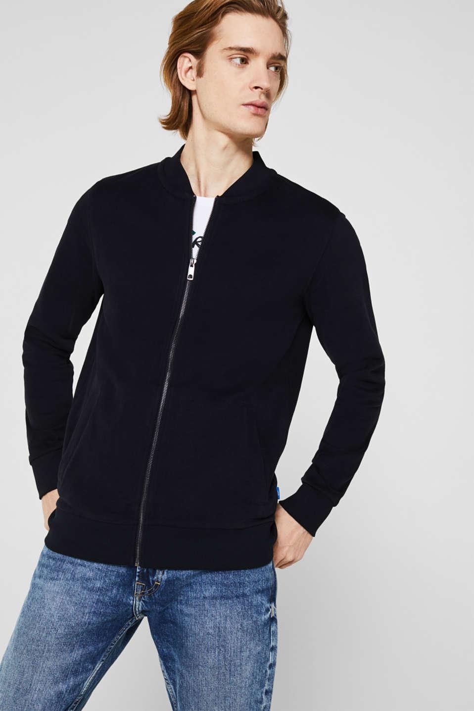 Bomber-style sweatshirt jacket, 100% cotton