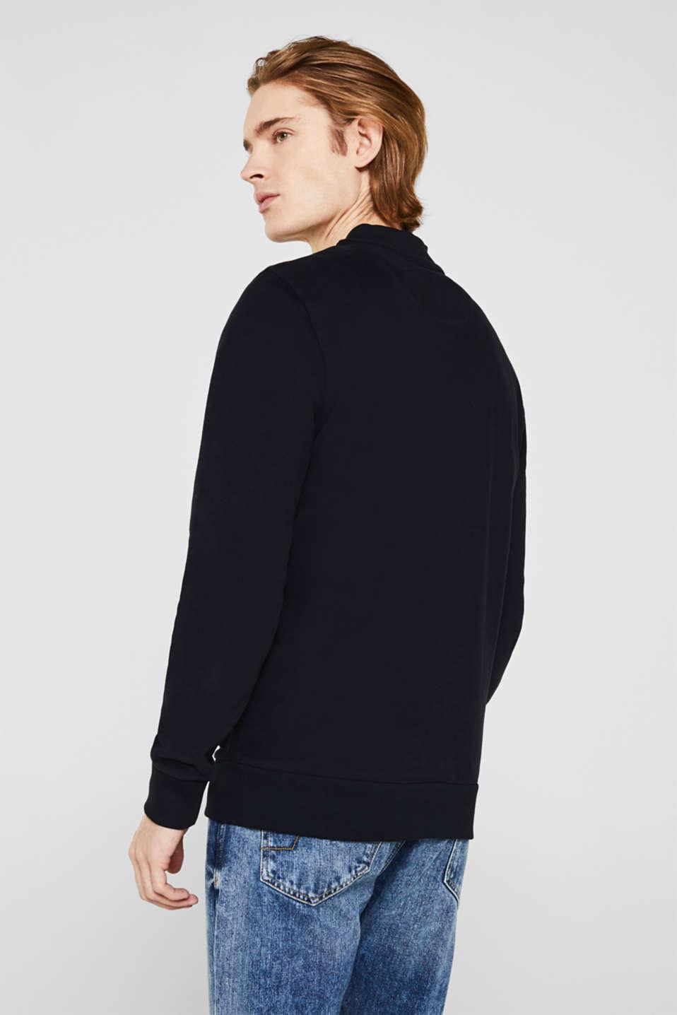 Bomber-style sweatshirt jacket, 100% cotton, BLACK, detail image number 3
