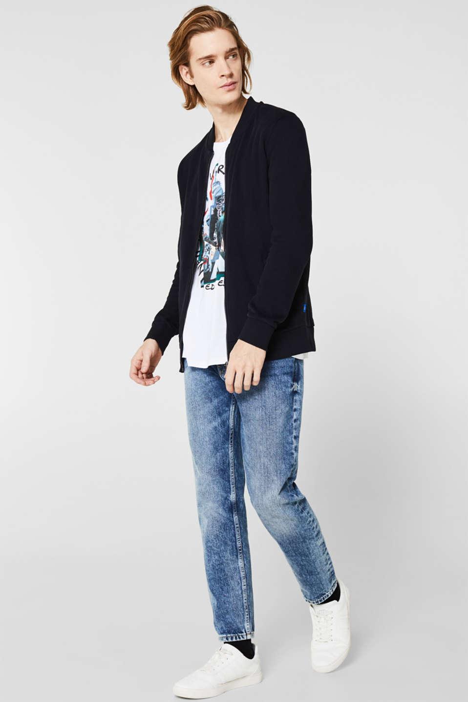 Bomber-style sweatshirt jacket, 100% cotton, BLACK, detail image number 1
