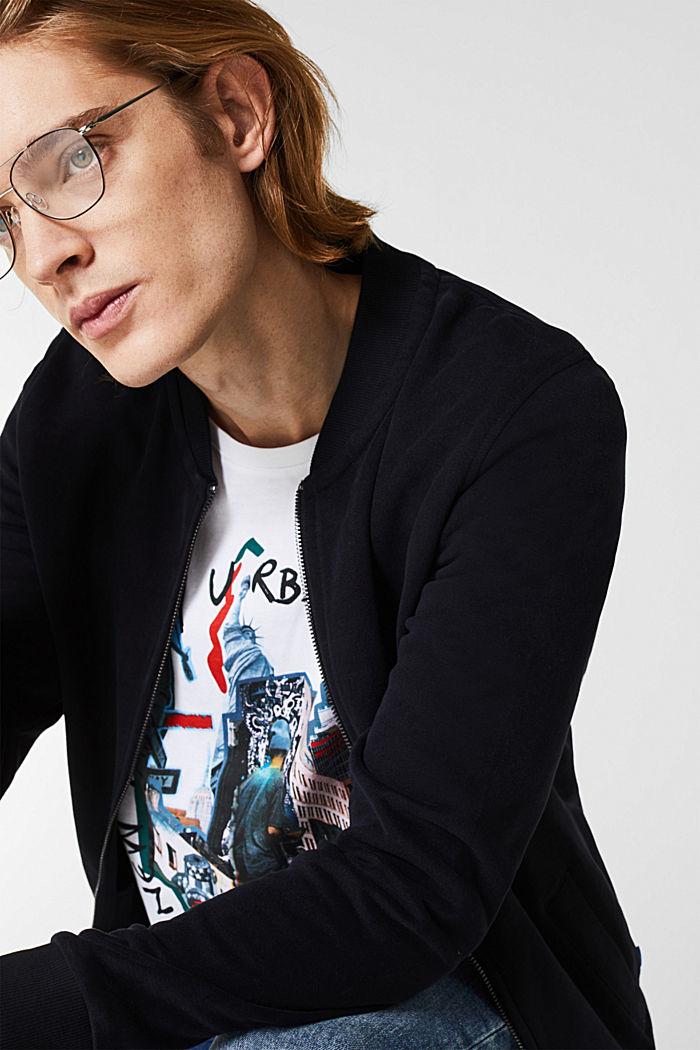 Bomber-style sweatshirt jacket, 100% cotton, BLACK, detail image number 2