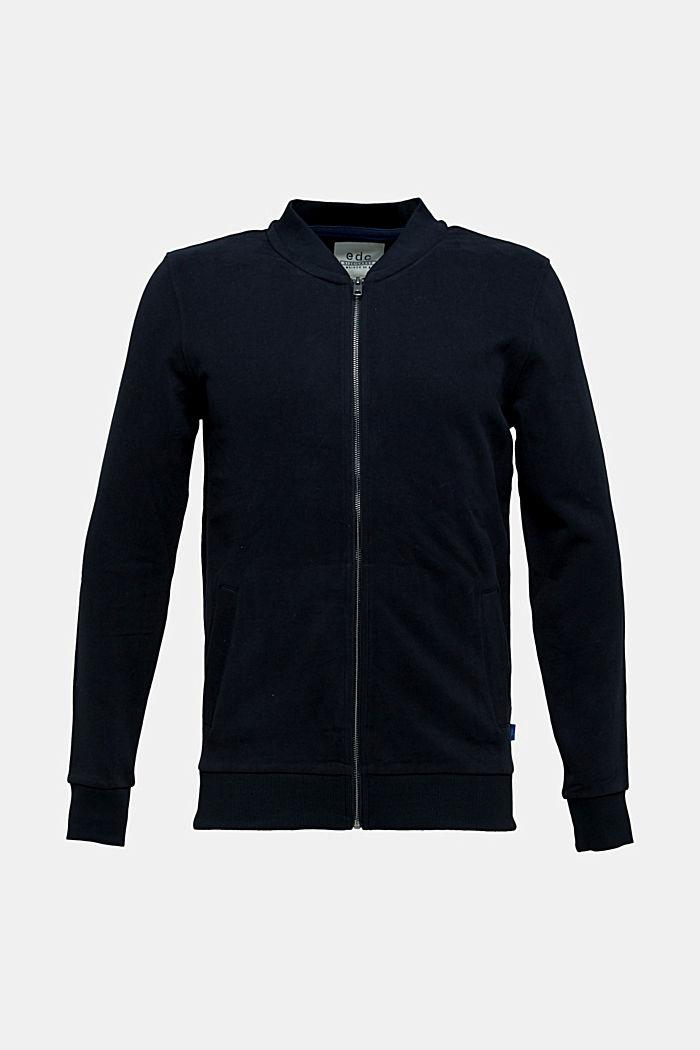 Bomber-style sweatshirt jacket, 100% cotton, BLACK, detail image number 6