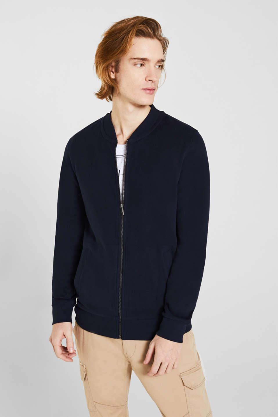 Bomber-style sweatshirt jacket, 100% cotton, NAVY, detail image number 0