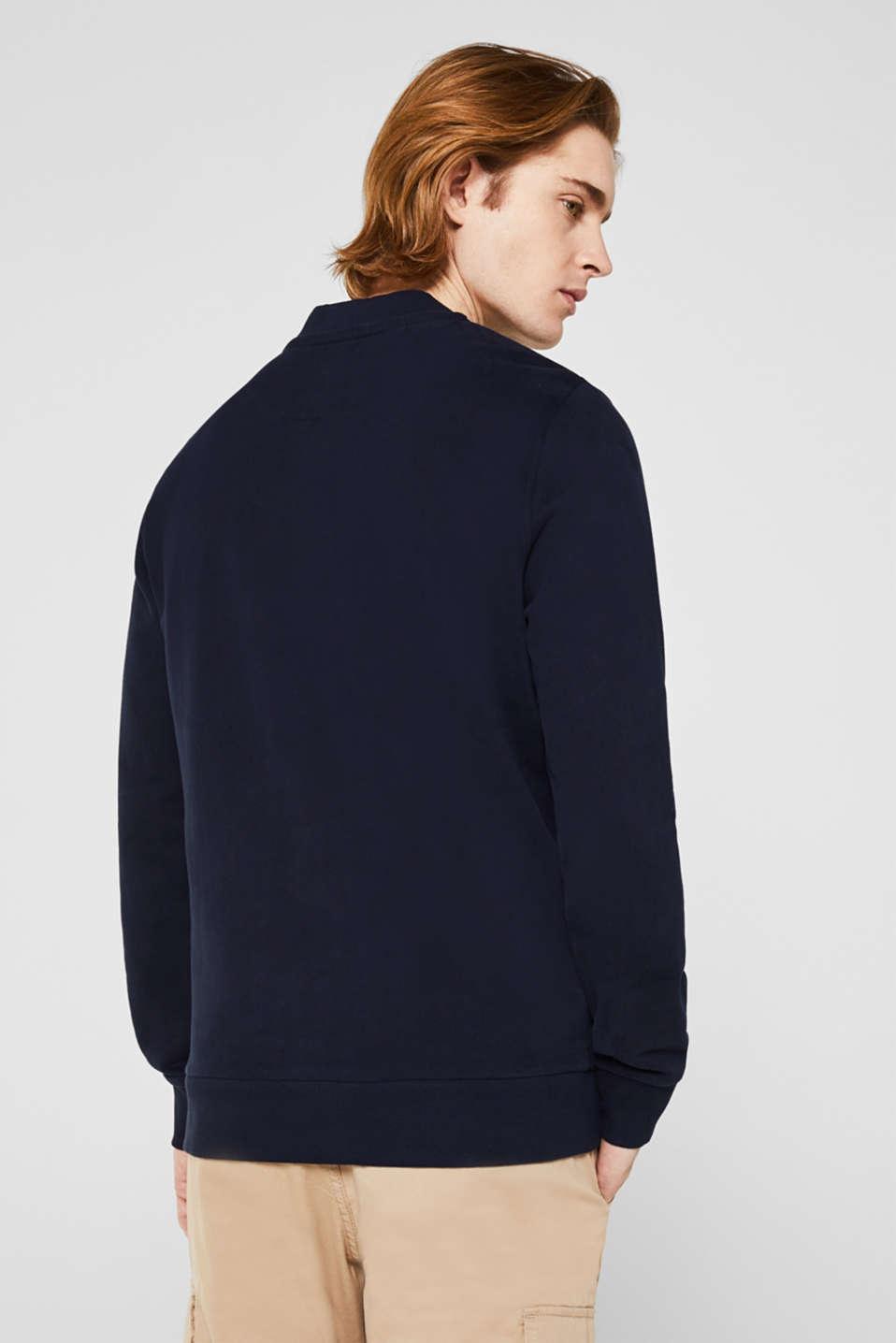 Bomber-style sweatshirt jacket, 100% cotton, NAVY, detail image number 3