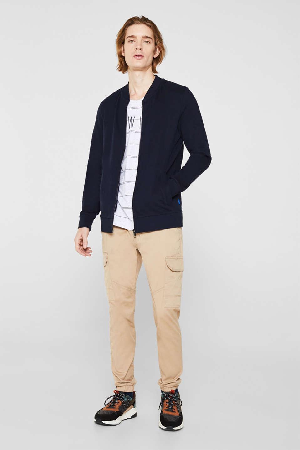 Bomber-style sweatshirt jacket, 100% cotton, NAVY, detail image number 1