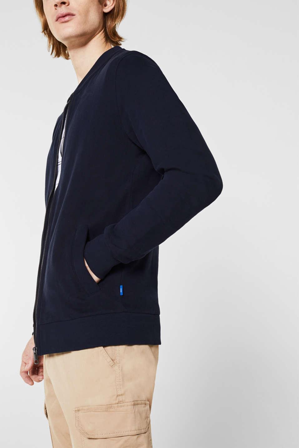 Bomber-style sweatshirt jacket, 100% cotton, NAVY, detail image number 2