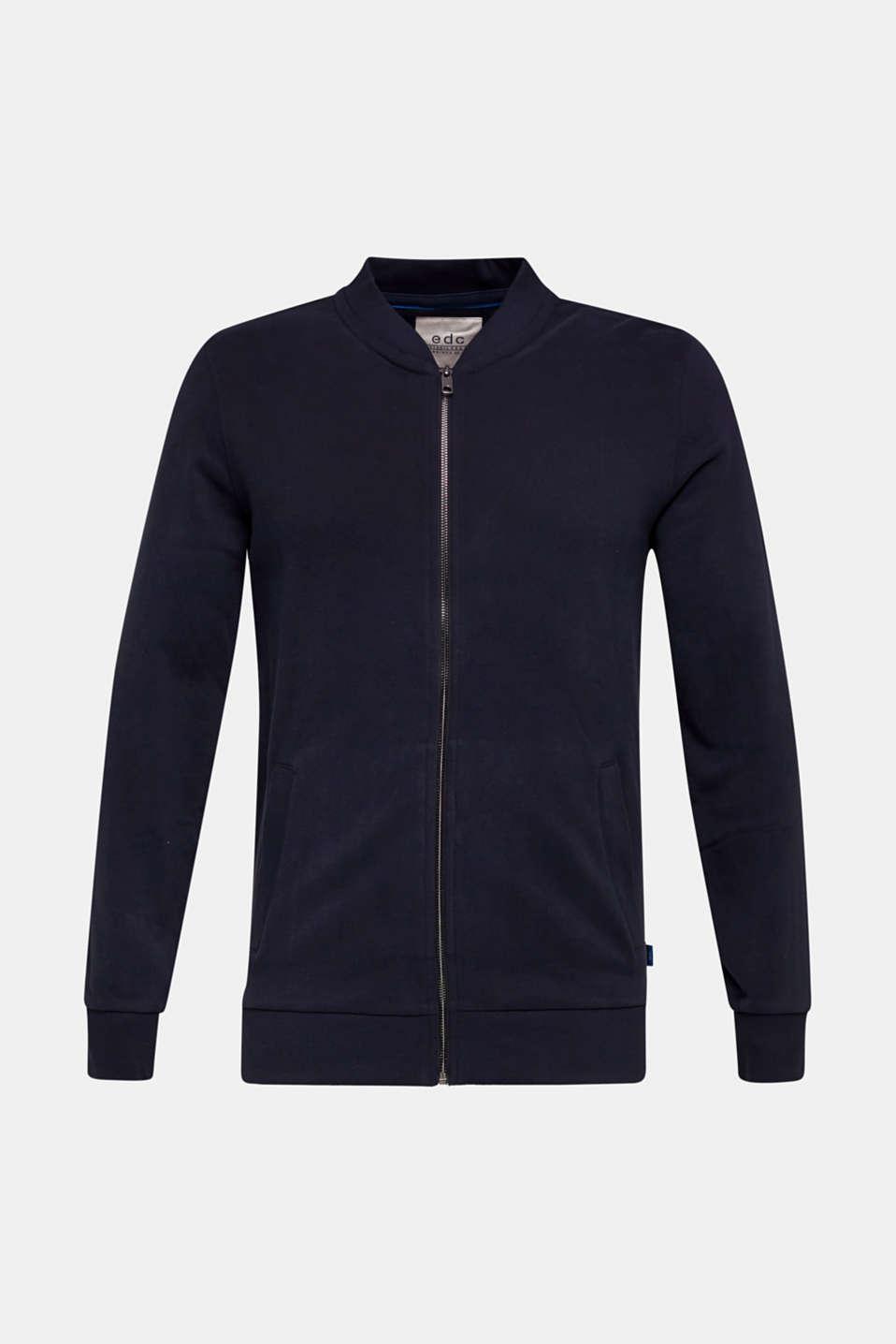 Bomber-style sweatshirt jacket, 100% cotton, NAVY, detail image number 5