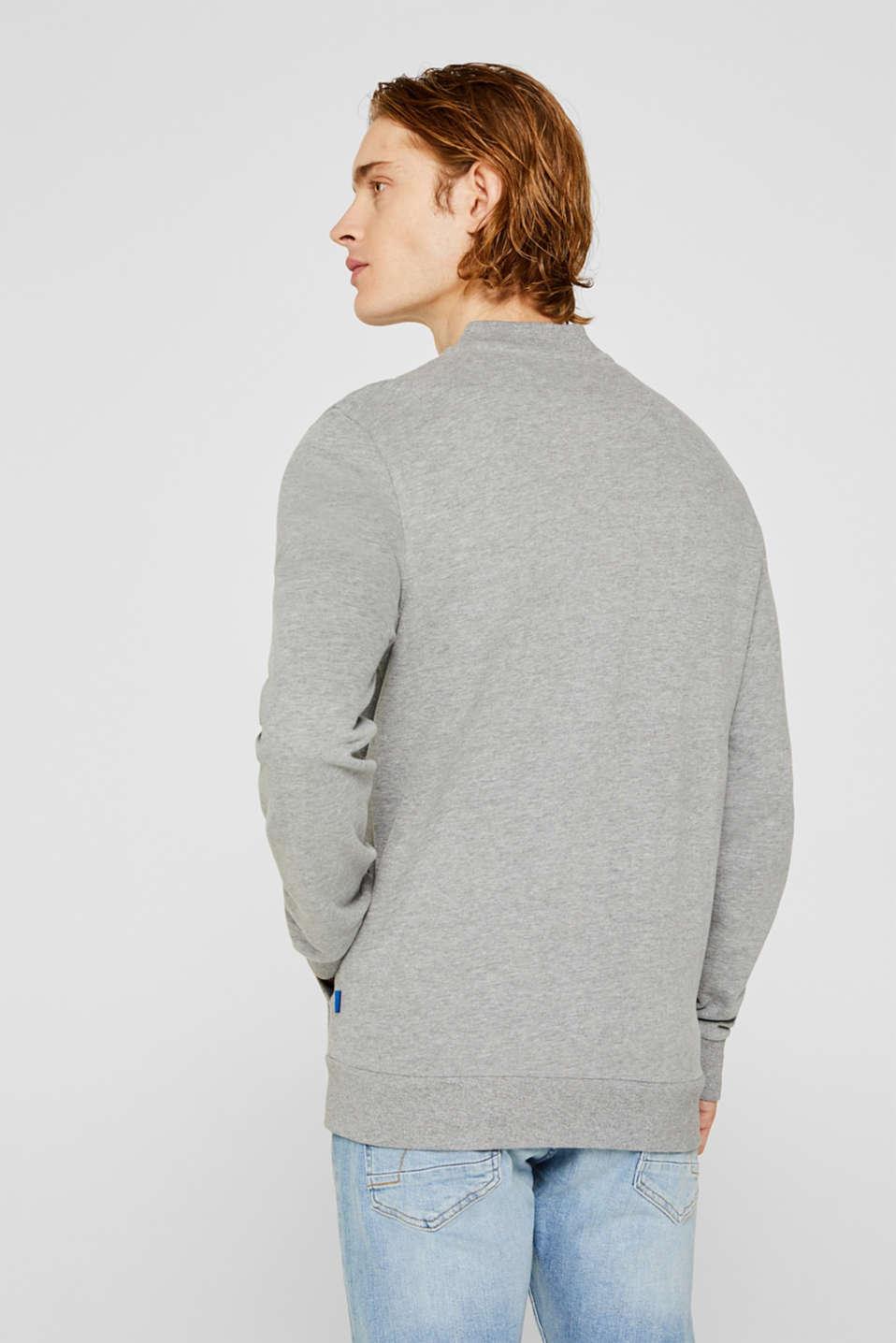 Cotton blend sweatshirt cardigan, MEDIUM GREY 5, detail image number 3