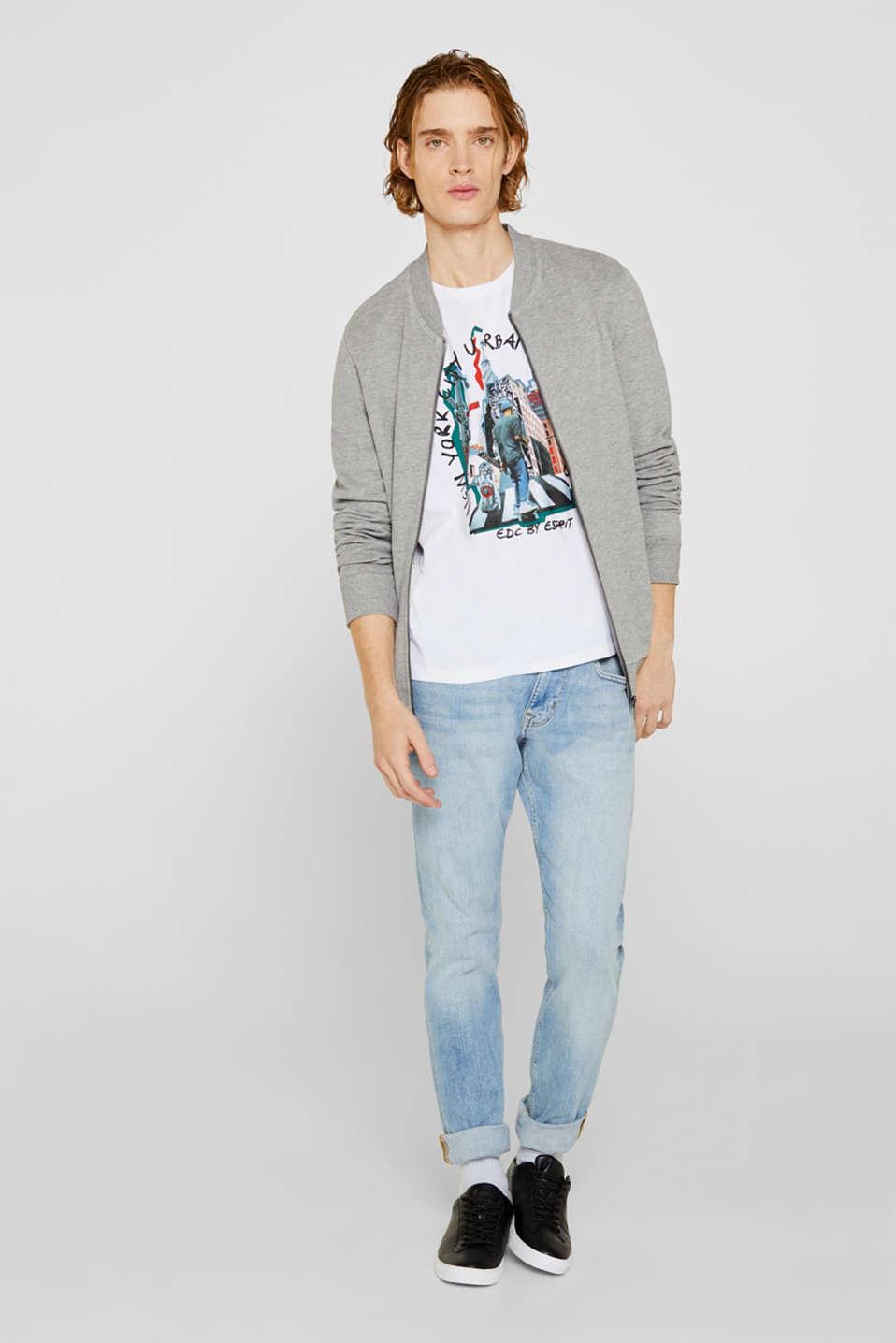 Cotton blend sweatshirt cardigan, MEDIUM GREY 5, detail image number 1