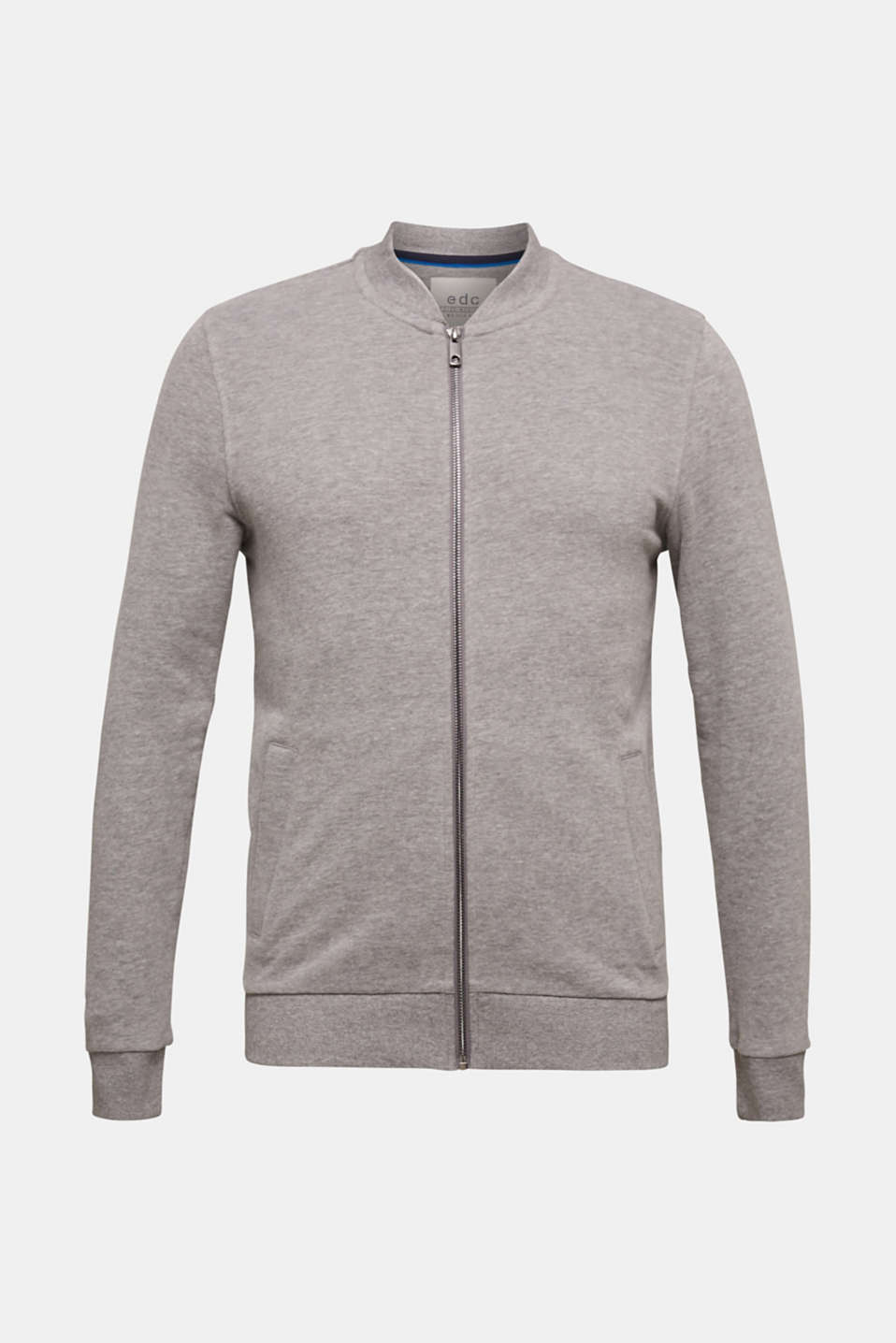 Cotton blend sweatshirt cardigan, MEDIUM GREY 5, detail image number 6