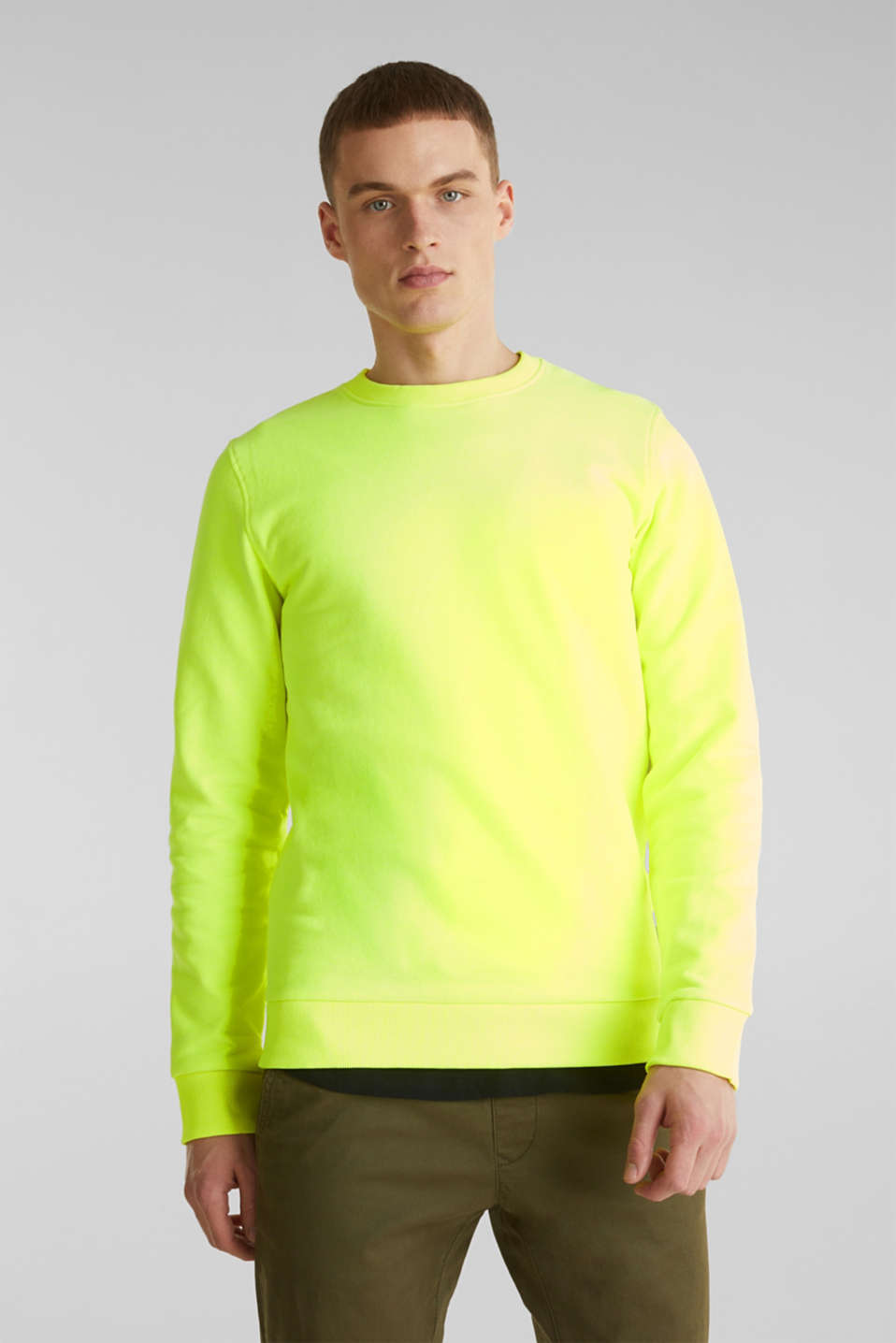 Neon sweatshirt in blended cotton, BRIGHT YELLOW, detail image number 0
