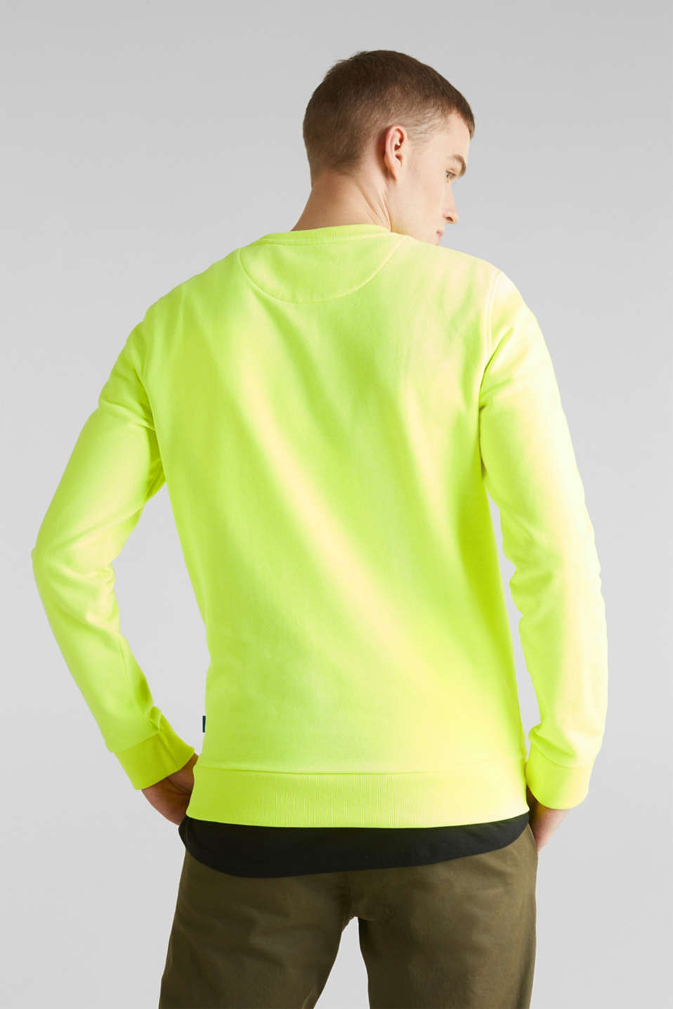 Neon sweatshirt in blended cotton, BRIGHT YELLOW, detail image number 3
