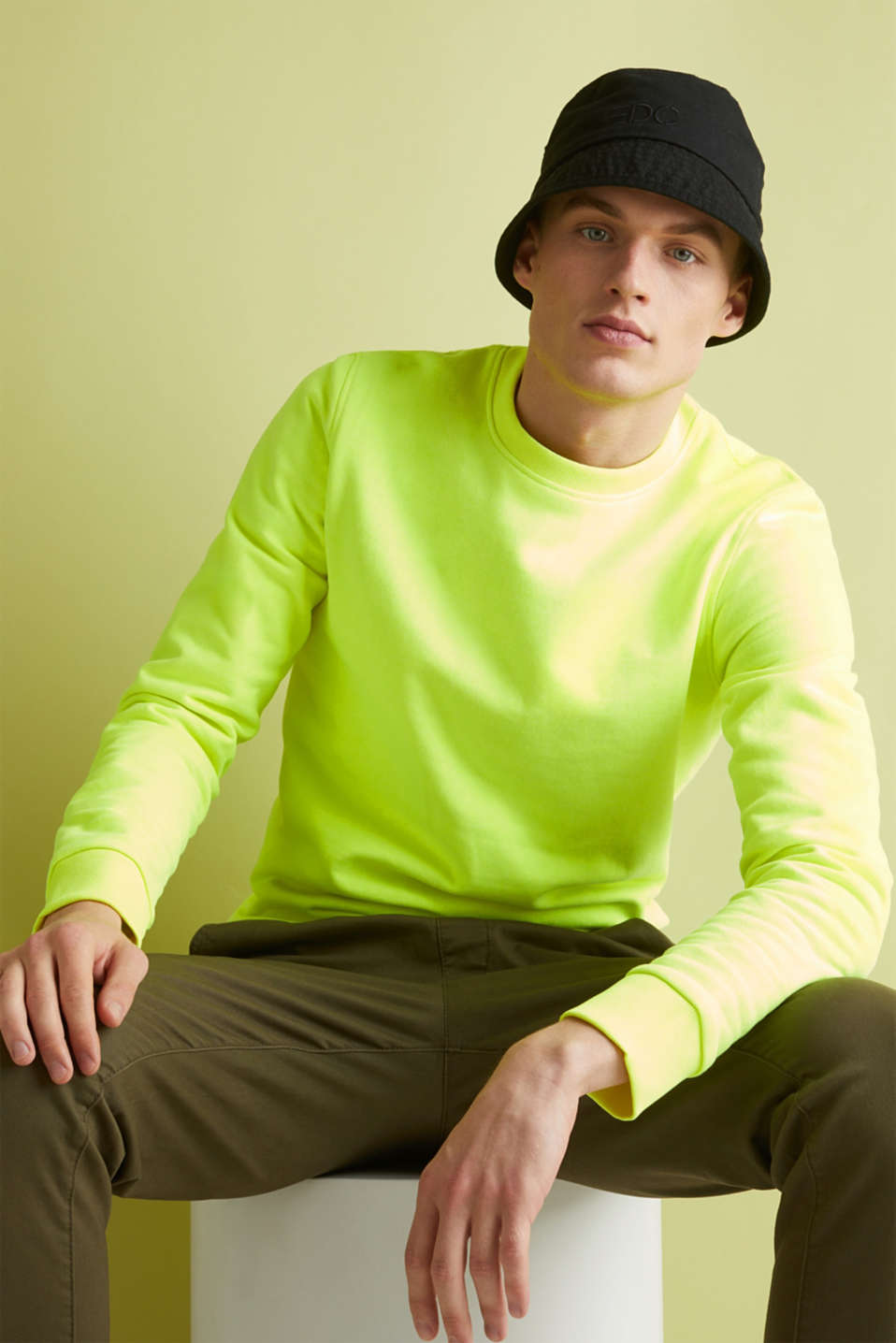 Neon sweatshirt in blended cotton, BRIGHT YELLOW, detail image number 4