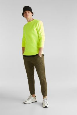 Neon sweatshirt in blended cotton, BRIGHT YELLOW, detail