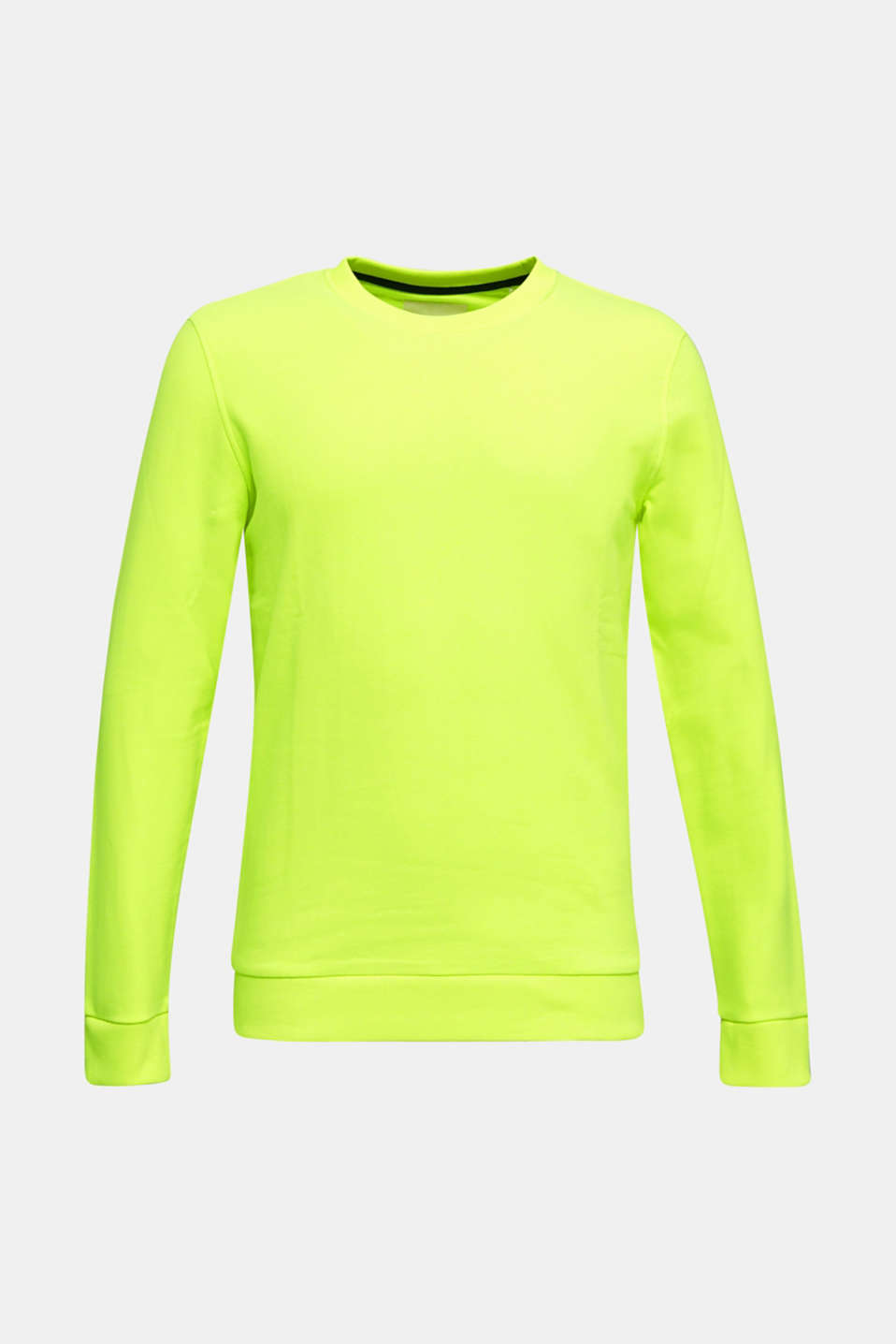 Neon sweatshirt in blended cotton, BRIGHT YELLOW, detail image number 6