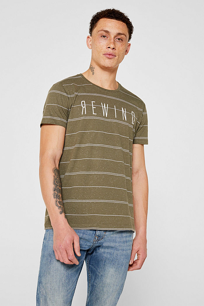 Jersey T-shirt with printed lettering, KHAKI GREEN, detail image number 0