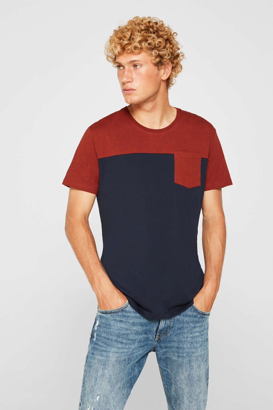 Jersey T-shirt in 100% cotton, NAVY 2, detail image number 0