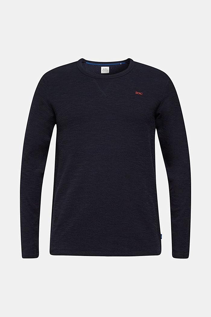 Struktur-Sweater aus Baumwoll-Mix, NAVY, detail image number 0
