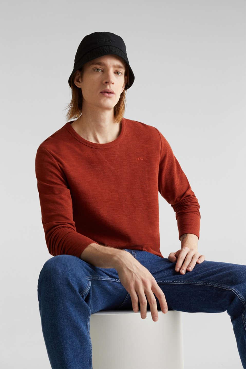 Textured cotton blend jumper, RUST ORANGE, detail image number 3