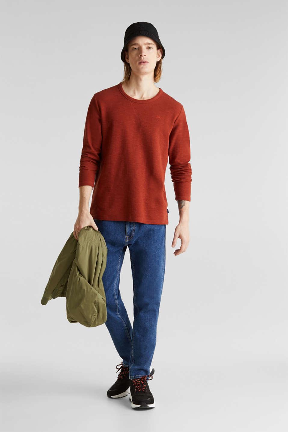 Textured cotton blend jumper, RUST ORANGE, detail image number 1