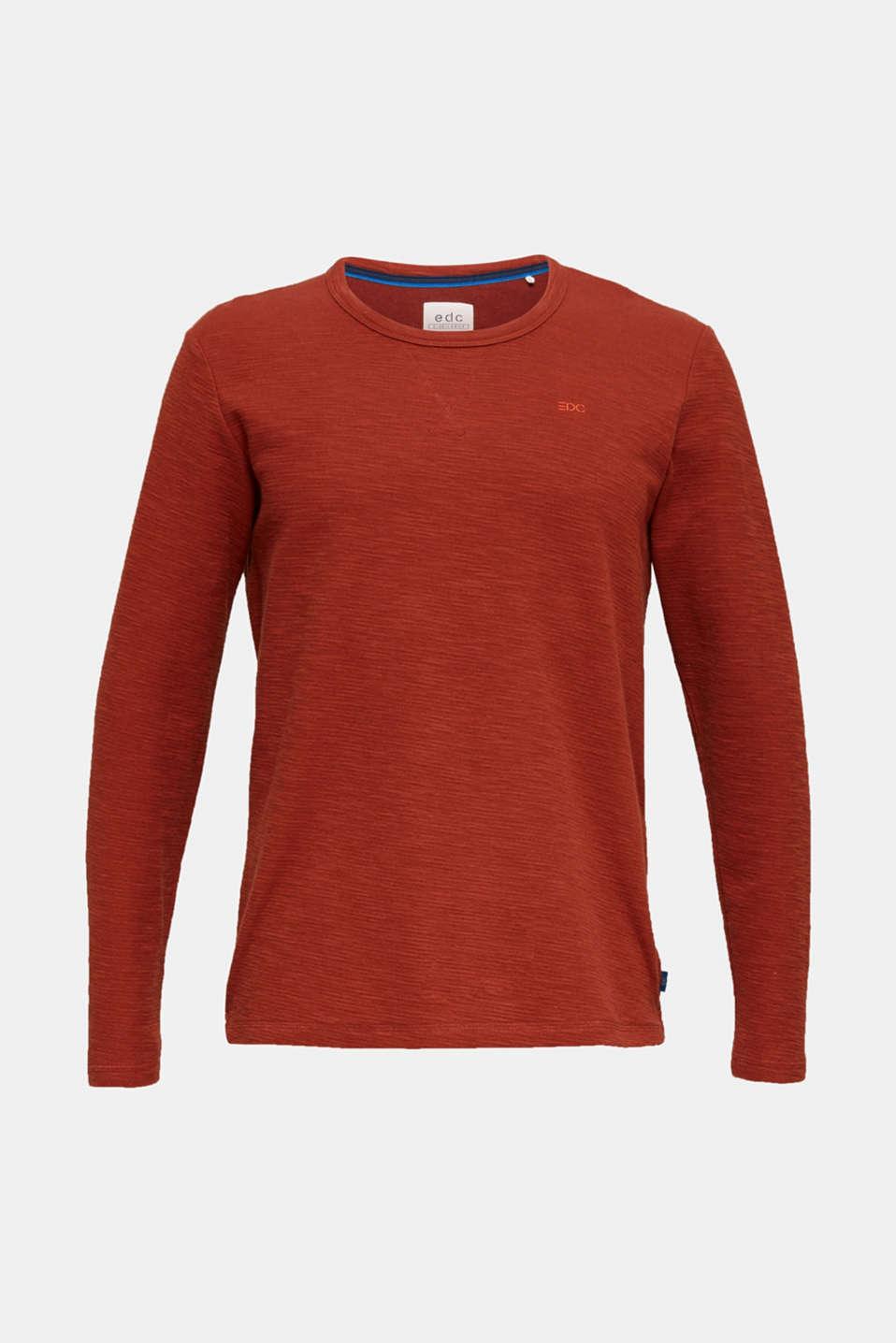 Textured cotton blend jumper, RUST ORANGE, detail image number 7