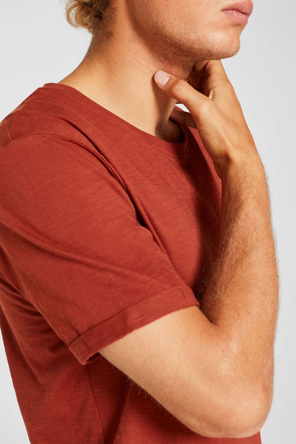 Slub jersey T-shirt in 100% cotton, RUST ORANGE, detail image number 1