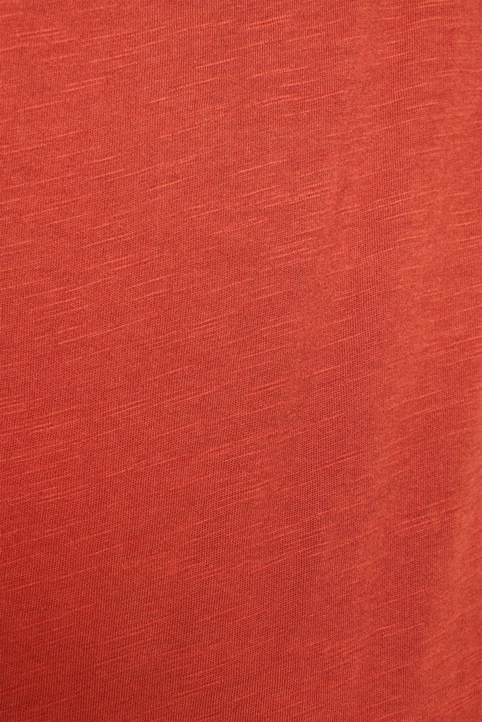 Slub jersey T-shirt in 100% cotton, RUST ORANGE, detail image number 4