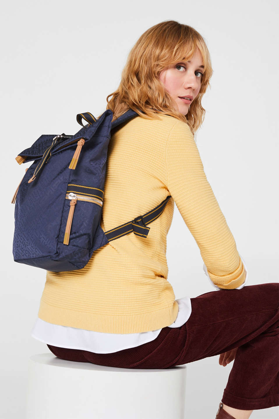 Nylon rucksack with a monogram, NAVY 2, detail image number 1