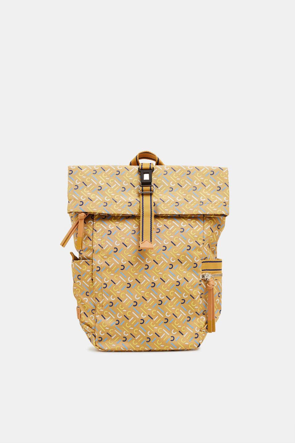 Nylon rucksack with a monogram, YELLOW, detail image number 0