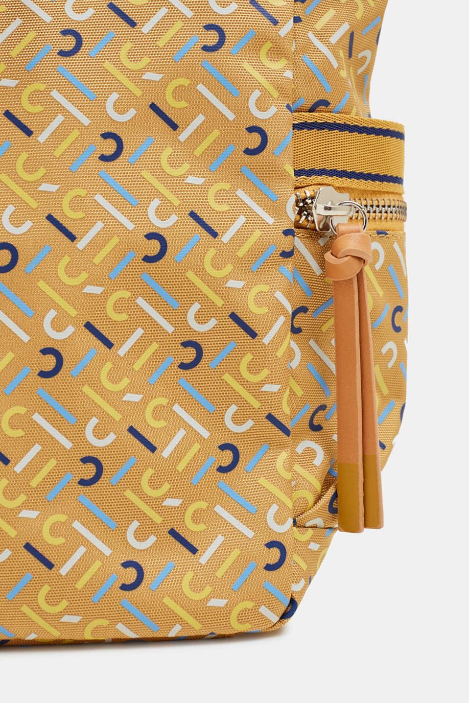 Nylon rucksack with a monogram, YELLOW, detail image number 3