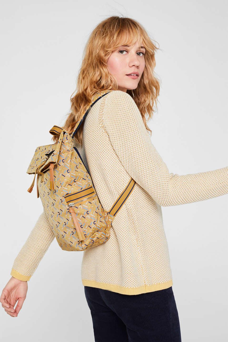 Nylon rucksack with a monogram, YELLOW, detail image number 1
