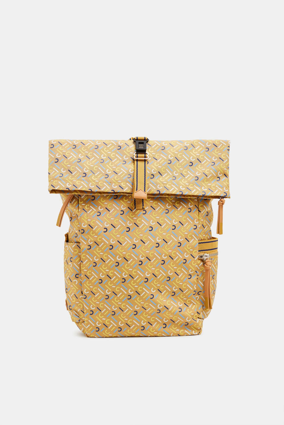 Rucksack with an all-over logo print, YELLOW, detail image number 0