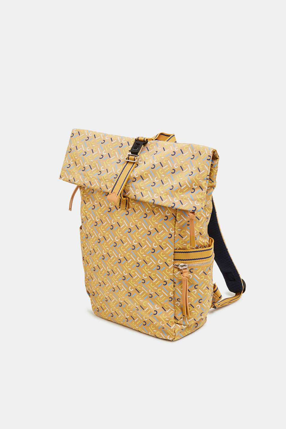 Rucksack with an all-over logo print, YELLOW, detail image number 2