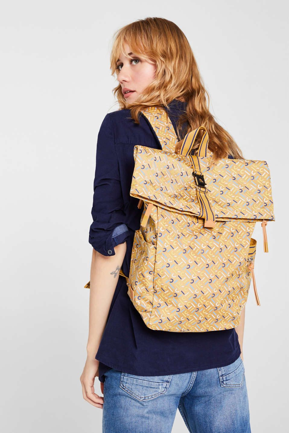 Rucksack with an all-over logo print, YELLOW, detail image number 1