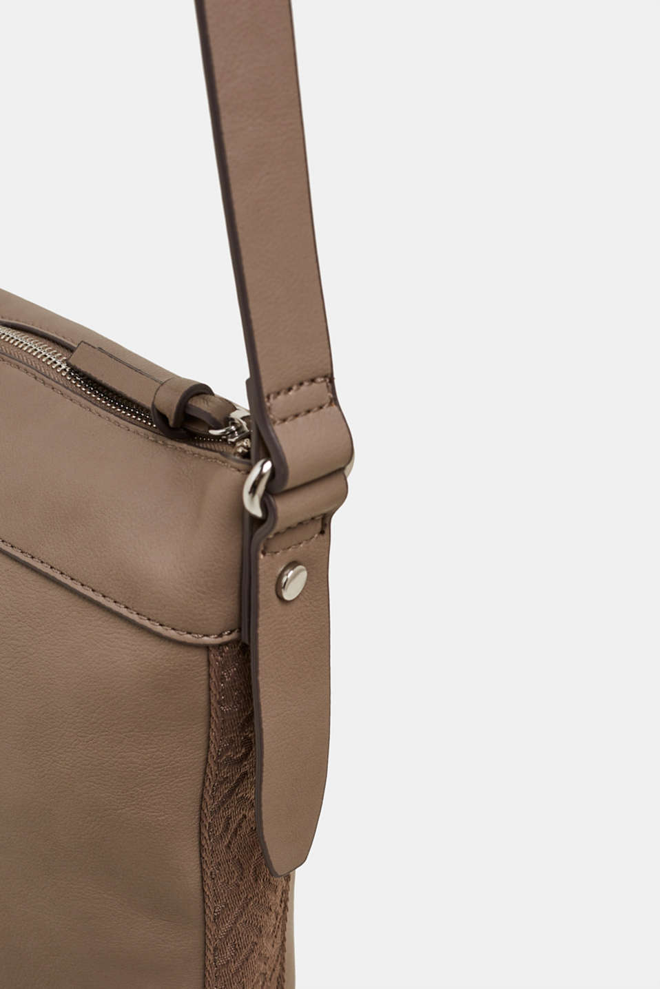 Shoulder bag with logo woven tape, TAUPE, detail image number 3