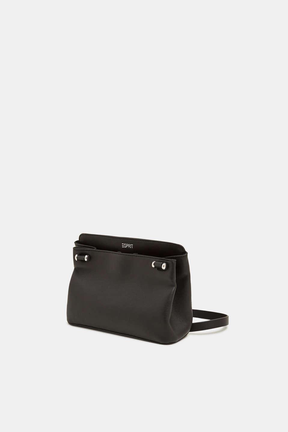 Small faux leather shoulder bag, BLACK, detail image number 2