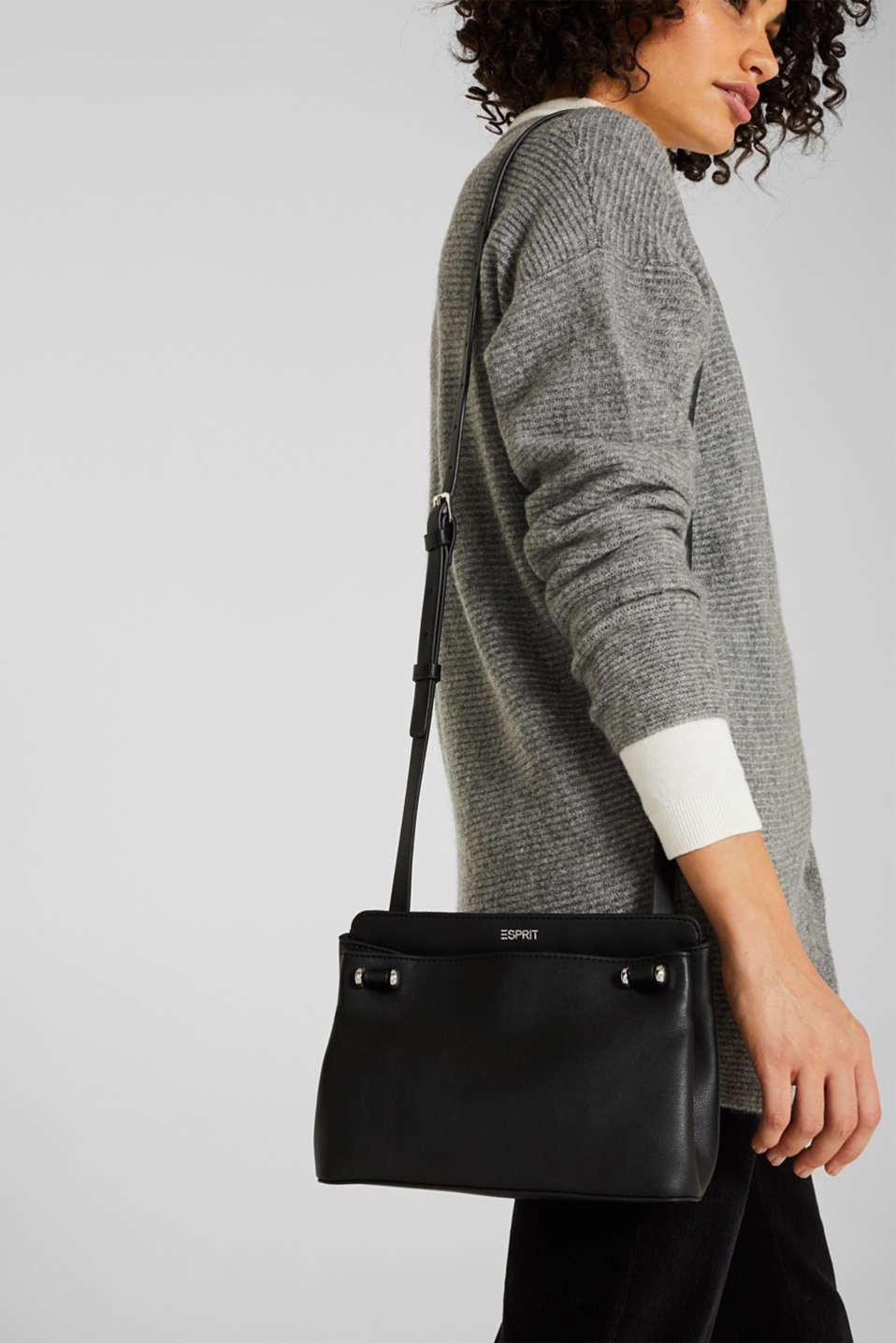 Small faux leather shoulder bag, BLACK, detail image number 1