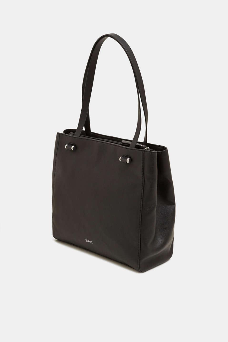 Faux leather shopper, BLACK, detail image number 2