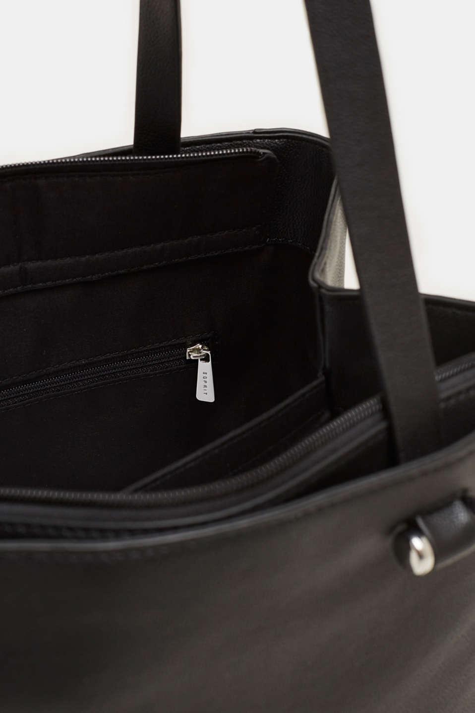 Faux leather shopper, BLACK, detail image number 4