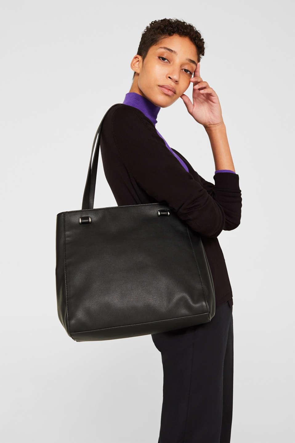 Faux leather shopper, BLACK, detail image number 1