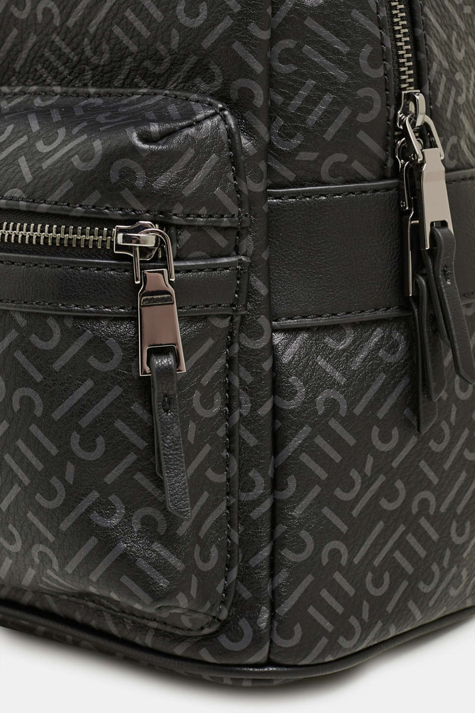 Monogram rucksack made of faux leather, BLACK, detail image number 3